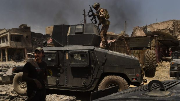 Iraqi special forces soldiers  in West Mosul on July 1.