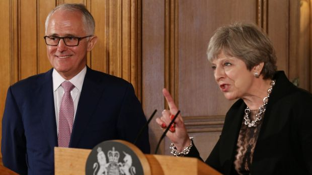 Malcolm Turnbull with Theresa May at a Downing Street press conference.
