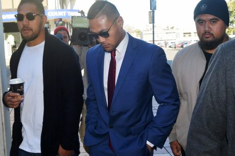 Convicted: Tim Simona arrives at Campbelltown Local Court before being found guilty of a fraud charge and handed a ...
