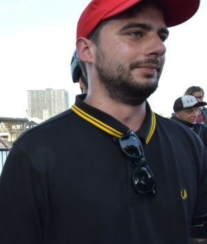 Protesters sporting a Fred Perry polo that they've adopted as their signature garment.