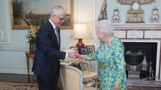 Prime Minister Malcolm Turnbull meets the Queen at Buckingham Palace.