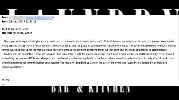 The scammer's email.