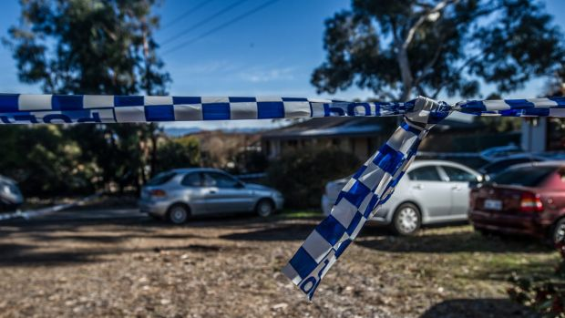 Police at the scene of the suspected bikie shooting on Wednesday morning.