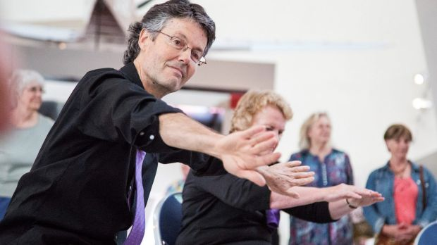 Philip Piggin with a Dance for Parkinson's group at Belconnen Arts Centre. He has been a major player in the growth of ...