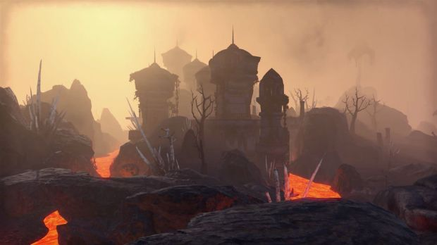 The island of Vvardenfell includes scenic rivers and perilous volcanoes.