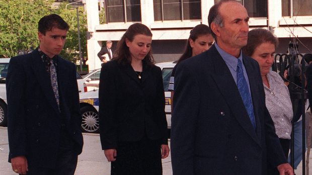 The family of Katie Bender in 1998 attending the coronial inquest into her death.