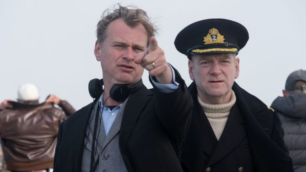 Christopher Nolan (left) directs Kenneth Branagh on the set of Dunkirk.