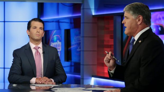 Donald Trump Jr., left, appeared on Sean Hannity's Fox News program on Tuesday.