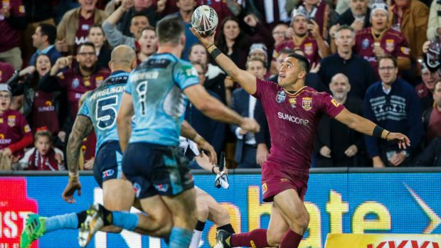 Hat-trick hero: Valentine Holmes did not look out of place in Origin.