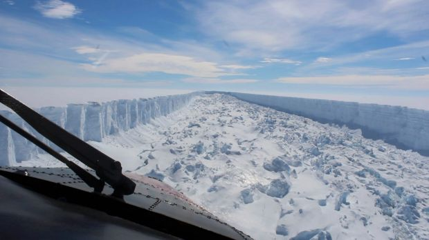 The Larsen C ice shelf in Antarctica in February this year. It broke away this week, according to scientists.
