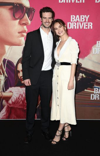 British star Lily James on the black carpet with her brother Charlie Thomson, who now lives in Melbourne.