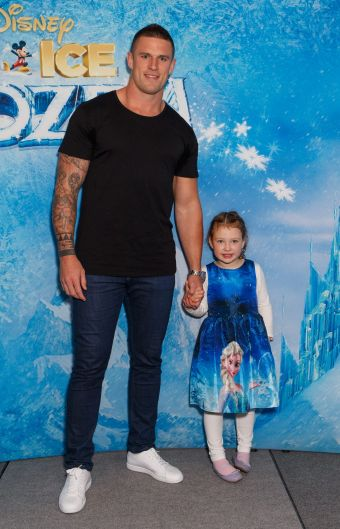 NRL star Luke Burgess with daughter Grace.