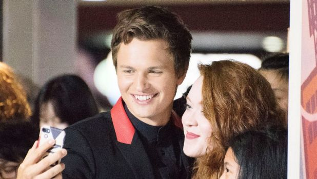 Ansel Elgort with fans at the Baby Driver black carpet at Event Cinemas in Sydney on Wednesday.