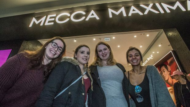 Tayla Macdonald, Naomi Vumbaca, Ingrid Smith, and Alexis Swaby were the first customers in queue for the opening of ...
