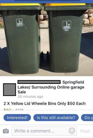 Council bins illegally listed for sale on Facebook buy, swap, sell page.