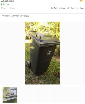 Council bins illegally listed for sale on Gumtree.
