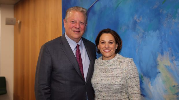Climate activist Al Gore and Deputy Premier Jackie Trad in Melbourne on July 13.