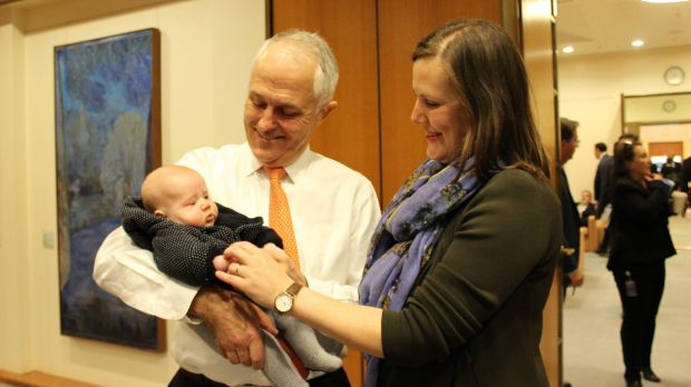 Prime Minister Malcolm Turnbull with Assistant Treasurer Kelly O'Dwyer and her son, Edward.