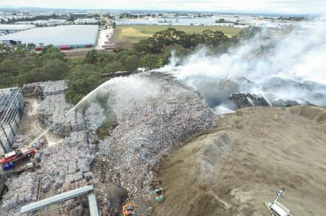 The fire at the SKM recycling plant in Coolaroo is still smouldering.