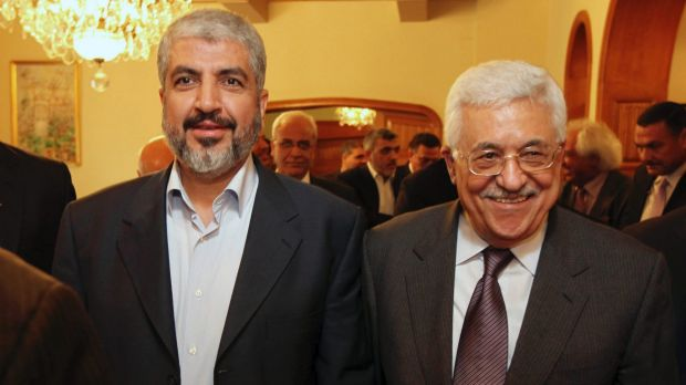 Hamas leader Khaled Mashaal, left, and Palestinian Authority president Mahmoud Abbas are seen together during a meeting ...
