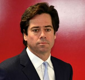 Gillon McLachlan, AFL chief executive, at the media conference after two executive resignations on 14 July.