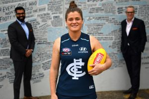 Tarang Chawla, Brianna Davey and Carlton CEO Steven Trigg ahead of the 'Carlton Respects' game, aimed at promoting a ...