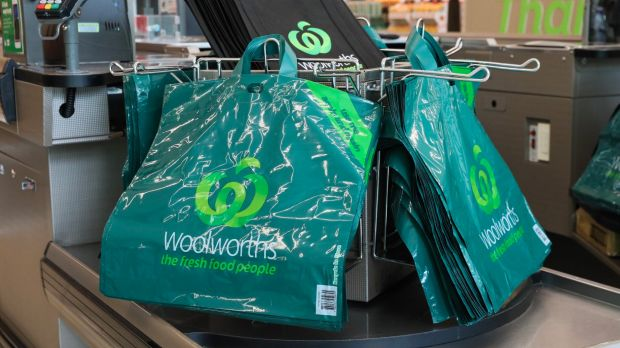 Woolworths' new thicker reusable plastic bags that are to replace single-use bags.