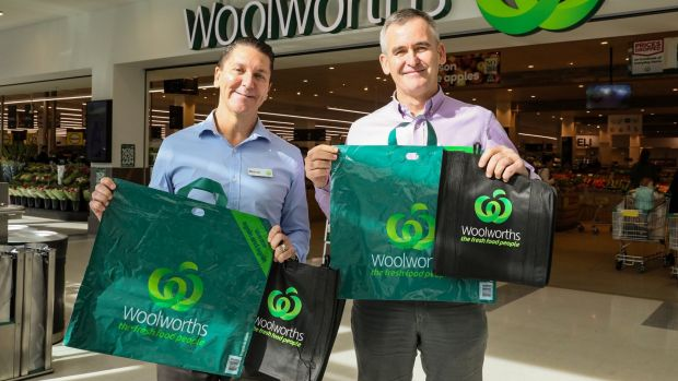 Woolworths Group chief executive Brad Banducci, right, and Woolworths Stores director Michael James with the company's ...