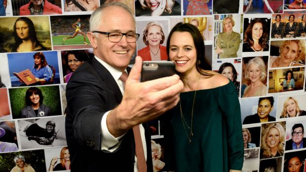 Australian Prime Minister Malcolm Turnbull with Mia Freedman at the launch of her latest book.