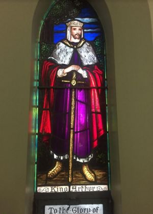 Stained glass window of King Arthur inside the Albert Street Uniting Church.