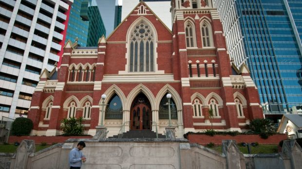 The old and the new of Brisbane as the 127-year-old Albert Street Uniting Church holds its own amid the tower blocks.
