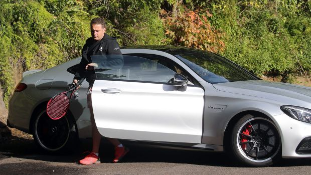 Karl Stefanovic driving a $177,000 Mercedes Benz coupe on Friday.