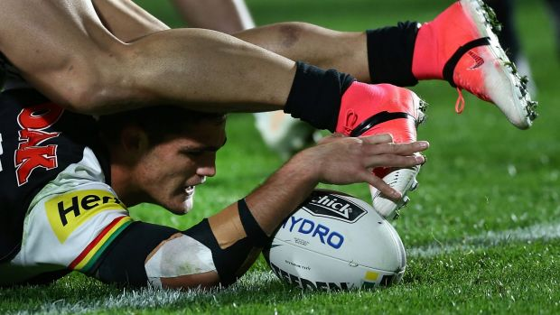 Cleary present danger: Ivan Cleary touches down.