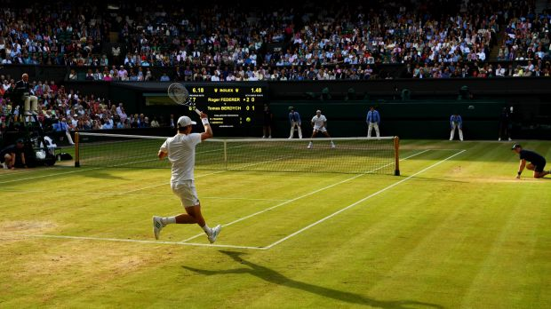 Tomas Berdych plays a forehand during Friday's semi-final against Roger Federer at Wimbledon.