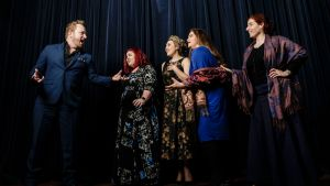 Sydney Eisteddfod Opera finalists (from left) tenor Boyd Owen and sopranos Amanda Windred, Imogen-Faith Malfitano, ...