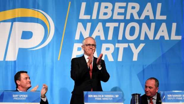Prime Minister Malcolm Turnbull acknowledges the crowd after his speech to the LNP state convention in Brisbane on Saturday.