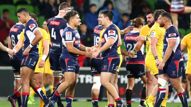 All over: The Rebels finished their Super Rugby season with a 32-29 loss to the Jaguares at AAMI Park.