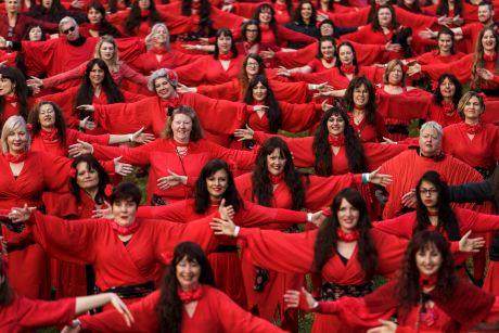 Hundreds of people put on red dresses for Melbourne's Most Wuthering Heights Day Ever in Edinburgh Gardens.