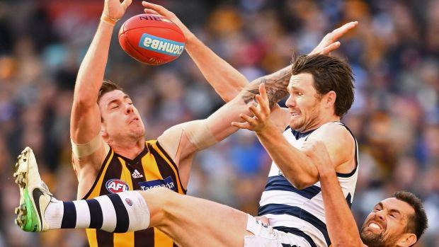 Patrick Dangerfield attempts to mark over the top of Hawthorn's 300-gamer Luke Hodge at the MCG on Saturday afternoon.
