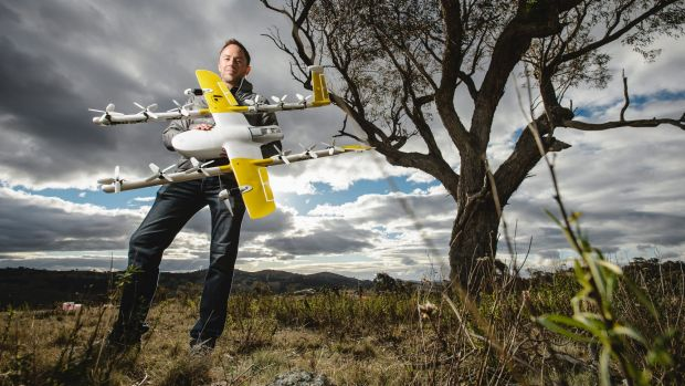 Project Wing co-leader James Ryan Burgess with the delivery drone set to be trialled at Fernleigh Park.