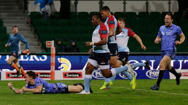 Off the pace: Alex Newsome scored the first of the Force's five tries against the woeful Waratahs.