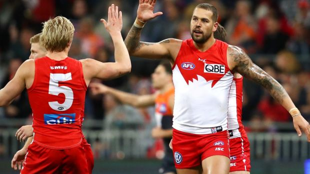 Hard to handle: Lance Franklin celebrates another major.