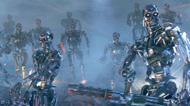 A scene from <i>Terminator 3: Rise of the Machines</i>, in which artificial intelligence successfully provokes a war of ...
