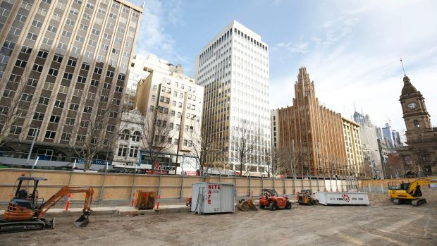 City Square has been cleared for construction of the Metro Rail project.
