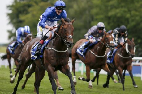 Maiden group 1 win: Adam Kirby steers Harry's Angel (left) to victory in The Darley July Cup Stakes at Newmarket.