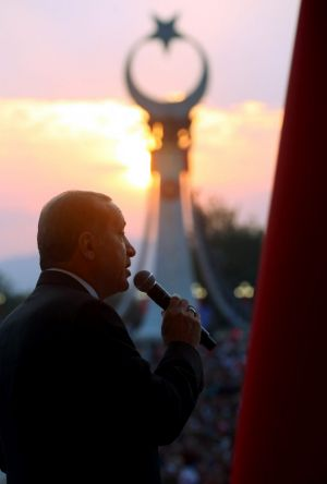 Turkish President Recep Tayyip Erdogan delivers a second speech at the opening ceremony of the 'July 15 Martyrs ...