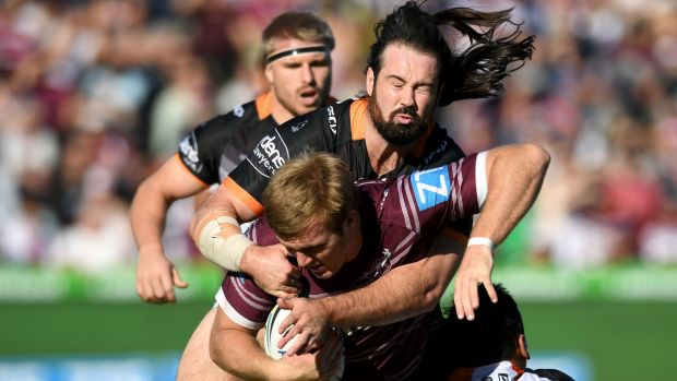 Big game: Tigers captain Aaron Woods put the disappointment of the Origin series behind him with a strong 80-minute ...