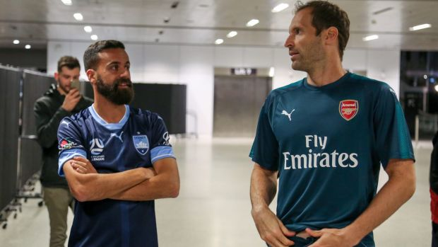 Global reach: Alex Brosque and Petr Cech, at the Puma kit launch for Sydney FC and Arsenal.