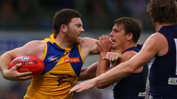 Jeremy McGovern in a scuffle with Nick Suban at the last Western Derby at Domain Stadium.