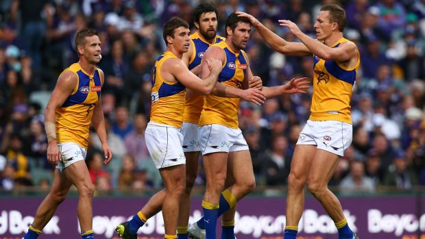 Fine feather: West Coast's Jack Darling after slotting a goal.